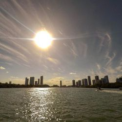 A Beautiful photograph of the Miami skyline taken from Miami Beach.