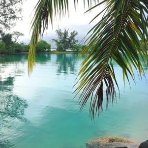 Amazing blue water in Tahiti Beach.