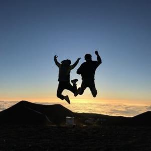 Jump shot at the top of Mauna-kea volcano on the big island of Hawaii.