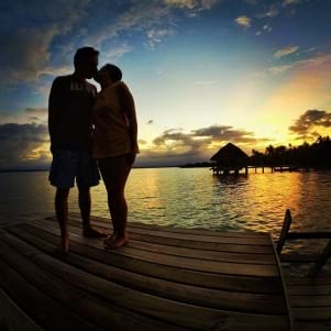 Lovely sunset and a lovely couple in Bocas del Toro.