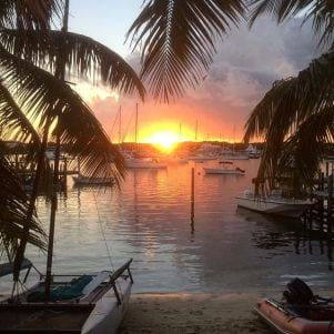 A picture of  the Sunset over Hopetown Harbour Elbow Cay Bahamas