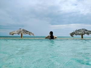 Unwinding in the blue waters of Grand Bahamas.