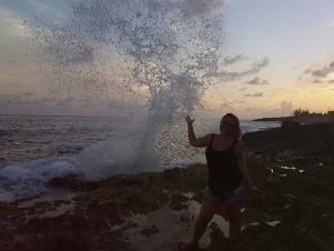 Blow holes on Grand Cayman at sunset are awesome!