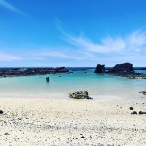Deserted Hawaiian beach on the big island of Hawaii