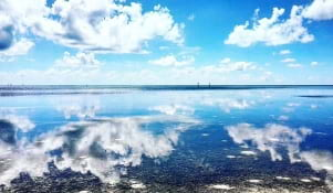 The blue sky meets the blue sea