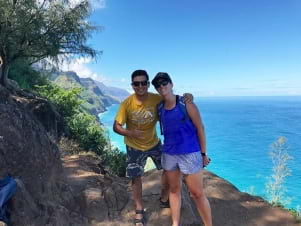 Enjoying the hike and the view of N? Pali Coast State Park.
