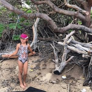 Future fashionista on beach in Lanai Hawaii