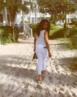 Beautiful woman on a Sandy lane in Marathon Florida Keys