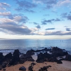 Maui moon sunrise from Kamaole Beach Park Maui Hawaii