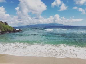 Looking out at Maui from the beaches of Molokai