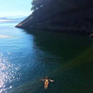 Enjoying a swim on the Island of Molokai.