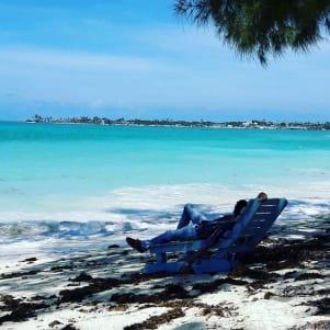 Unwinding by the beach in Nassau.