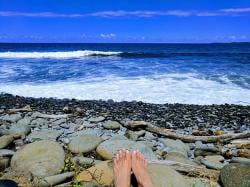 Tip toeing on a secluded beach on Hawaii