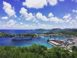 Ships in port at St. Lucia Caribbean