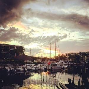 Beautiful sunrise at the boat harbor in Key Largo