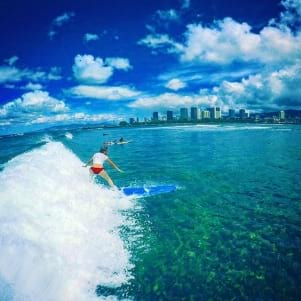 Riding the waves in Hawaii