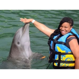 Having fun with a dolphin