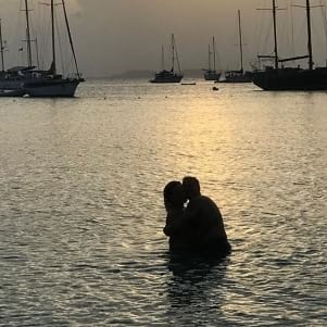Romantic moment under the sunset